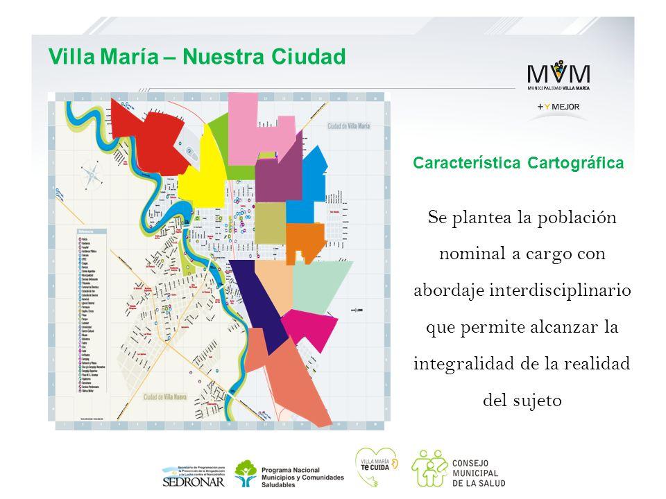 Característica Cartográfica Se plantea la población nominal a cargo con abordaje interdisciplinario que permite alcanzar la integralidad de la realida