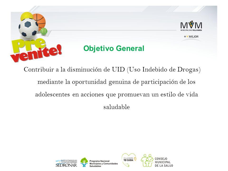 Contribuir a la disminución de UID (Uso Indebido de Drogas) mediante la oportunidad genuina de participación de los adolescentes en acciones que promu