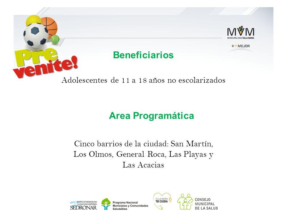 Beneficiarios Adolescentes de 11 a 18 años no escolarizados Cinco barrios de la ciudad: San Martín, Los Olmos, General Roca, Las Playas y Las Acacias