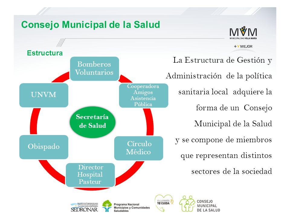 Estructura Bomberos Voluntarios Cooperadora Amigos Asistencia Pública Círculo Médico Director Hospital Pasteur ObispadoUNVM Secretaría de Salud Consej