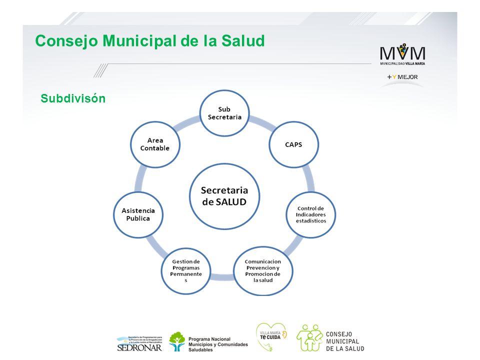 Subdivisón Consejo Municipal de la Salud