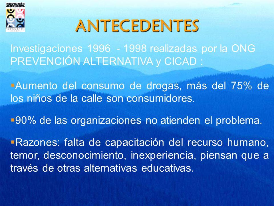 ANTECEDENTES Investigaciones 1996 - 1998 realizadas por la ONG PREVENCIÓN ALTERNATIVA y CICAD : Aumento del consumo de drogas, más del 75% de los niños de la calle son consumidores.