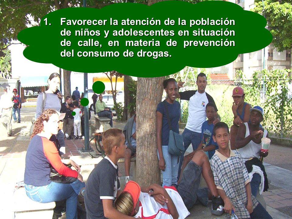 En los niños Ocho (8) jornadas Jugando y Aprendiendo para tratar el problema de las drogas con 840 niños de las entidades de atención de Aragua, Caracas, Miranda, Carabobo y Lara.