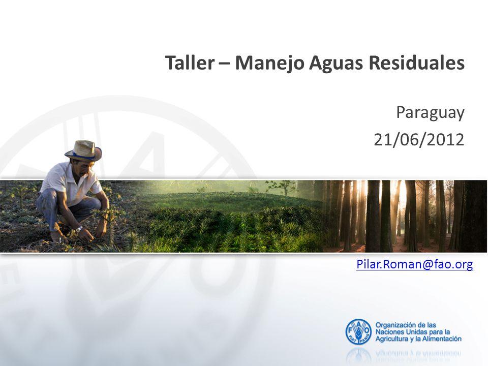 Taller – Manejo Aguas Residuales Paraguay 21/06/2012 Pilar.Roman@fao.org