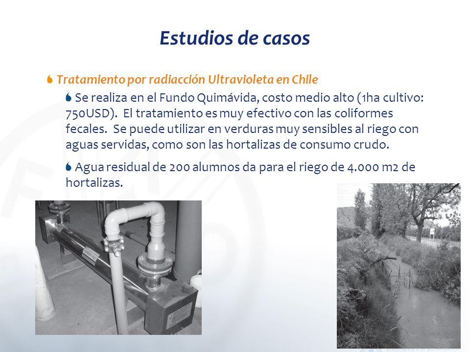 Estudios de casos Tratamiento por radiacción Ultravioleta en Chile Se realiza en el Fundo Quimávida, costo medio alto (1ha cultivo: 750USD).