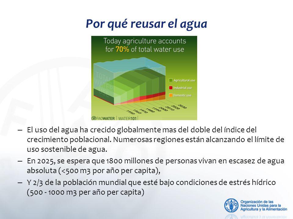 – El uso del agua ha crecido globalmente mas del doble del índice del crecimiento poblacional.