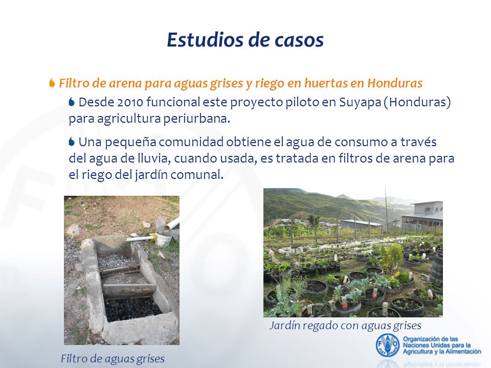 Estudios de casos Filtro de arena para aguas grises y riego en huertas en Honduras Desde 2010 funcional este proyecto piloto en Suyapa (Honduras) para agricultura periurbana.