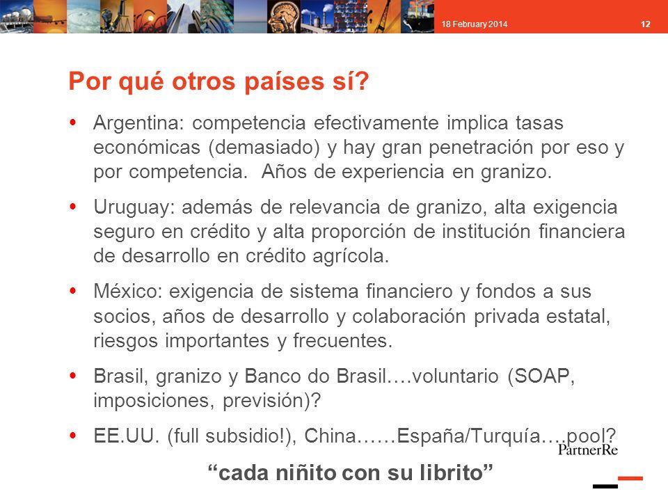 1218 February 2014 Por qué otros países sí? Argentina: competencia efectivamente implica tasas económicas (demasiado) y hay gran penetración por eso y