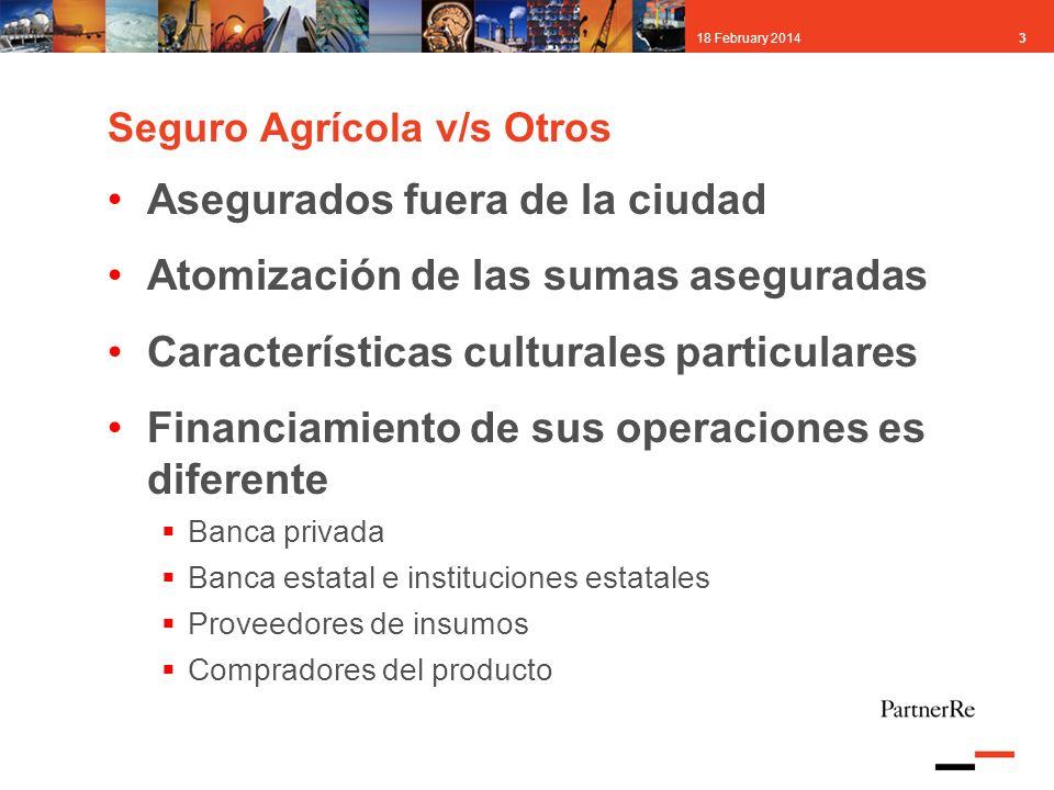 318 February 2014 Seguro Agrícola v/s Otros Asegurados fuera de la ciudad Atomización de las sumas aseguradas Características culturales particulares
