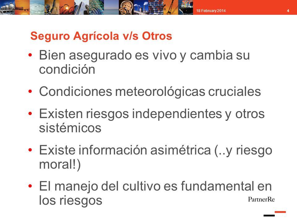 418 February 2014 Seguro Agrícola v/s Otros Bien asegurado es vivo y cambia su condición Condiciones meteorológicas cruciales Existen riesgos independ
