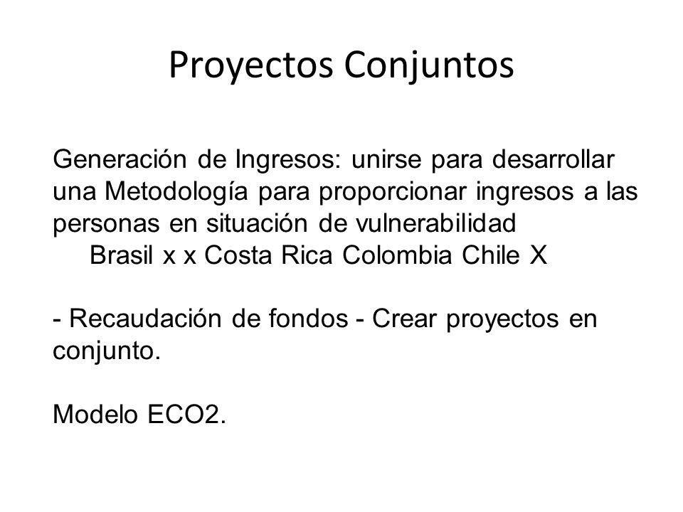 Proyectos Conjuntos Generación de Ingresos: unirse para desarrollar una Metodología para proporcionar ingresos a las personas en situación de vulnerabilidad Brasil x x Costa Rica Colombia Chile X - Recaudación de fondos - Crear proyectos en conjunto.