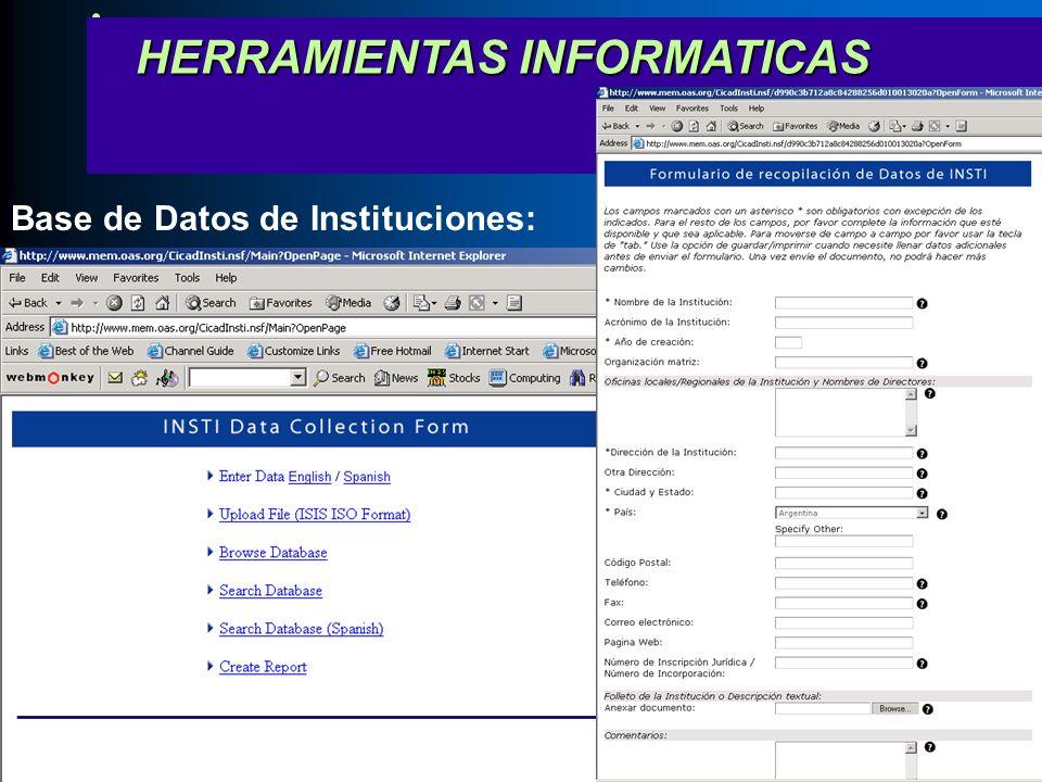 HERRAMIENTAS INFORMATICAS HERRAMIENTAS INFORMATICAS Base de Datos de Instituciones: