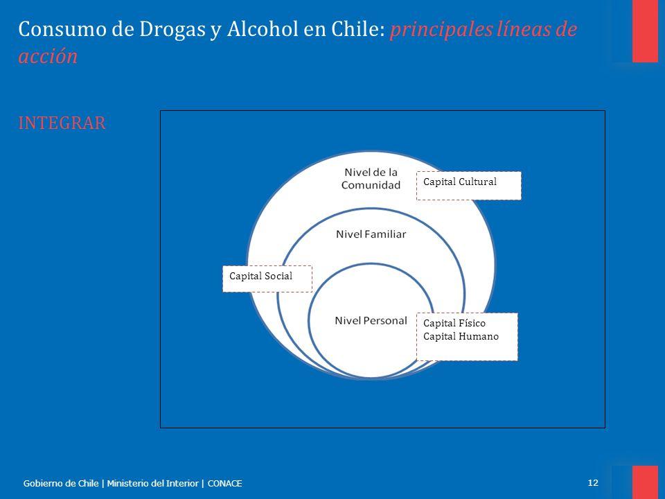 Gobierno de Chile | Ministerio del Interior | CONACE 12 Consumo de Drogas y Alcohol en Chile: principales líneas de acción INTEGRAR Capital Físico Cap