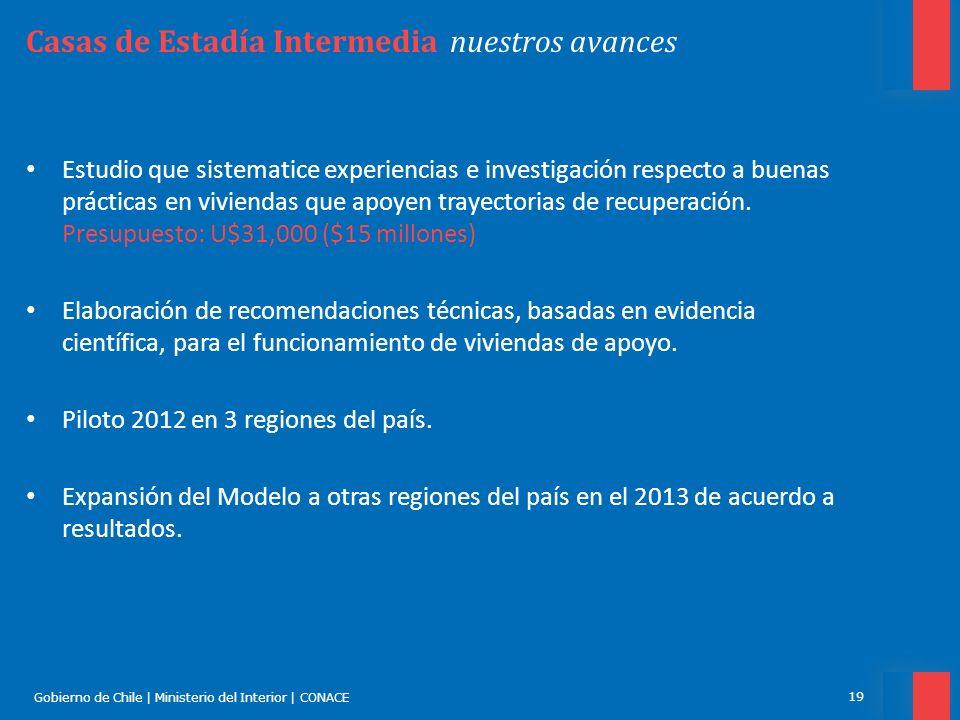 Gobierno de Chile | Ministerio del Interior | CONACE 19 Casas de Estadía Intermedia nuestros avances Estudio que sistematice experiencias e investigac