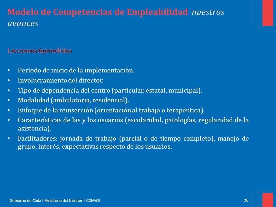 Gobierno de Chile | Ministerio del Interior | CONACE 26 Modelo de Competencias de Empleabilidad nuestros avances Lecciones Aprendidas Período de inici