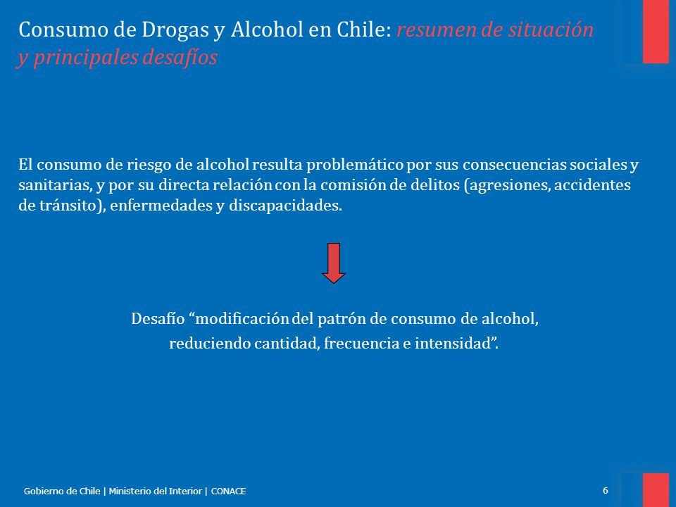 Gobierno de Chile | Ministerio del Interior | CONACE 7 Consumo de Drogas y Alcohol en Chile: resumen de situación y principales desafíos MetaLínea Base (%)N° ActualN ° a Reducir Reducir 15% prev.