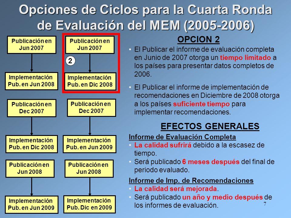 7 OPCION 2 El Publicar el informe de evaluación completa en Junio de 2007 otorga un tiempo limitado a los países para presentar datos completos de 2006.