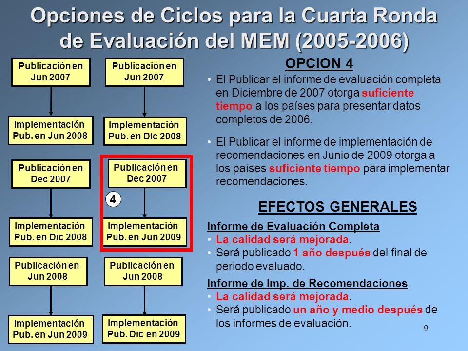 9 El Publicar el informe de evaluación completa en Diciembre de 2007 otorga suficiente tiempo a los países para presentar datos completos de 2006.