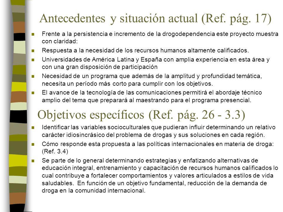 Antecedentes y situación actual (Ref. pág.