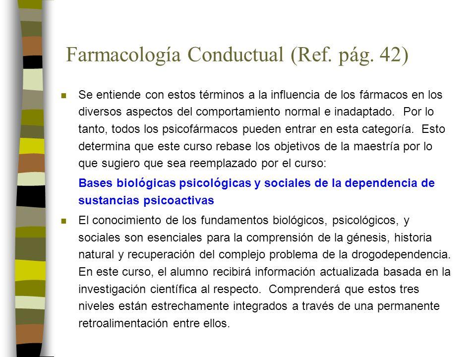 Farmacología Conductual (Ref. pág.