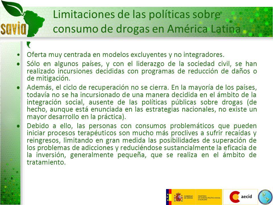 Limitaciones de las políticas sobre consumo de drogas en América Latina Oferta muy centrada en modelos excluyentes y no integradores. Sólo en algunos