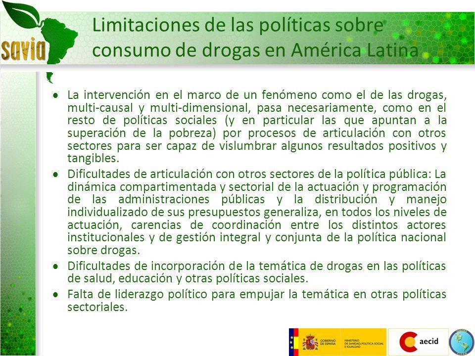 Limitaciones de las políticas sobre consumo de drogas en América Latina La intervención en el marco de un fenómeno como el de las drogas, multi-causal