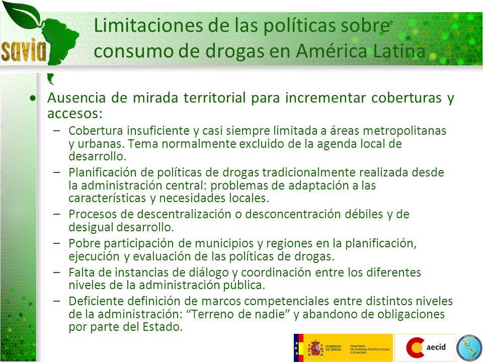 Limitaciones de las políticas sobre consumo de drogas en América Latina Ausencia de mirada territorial para incrementar coberturas y accesos: –Cobertu
