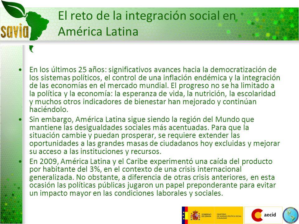 El reto de la integración social en América Latina En los últimos 25 años: significativos avances hacia la democratización de los sistemas políticos,