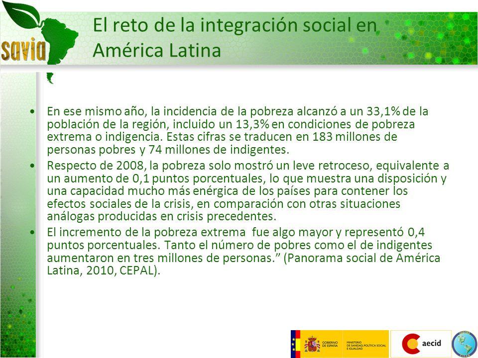 El reto de la integración social en América Latina En ese mismo año, la incidencia de la pobreza alcanzó a un 33,1% de la población de la región, incl