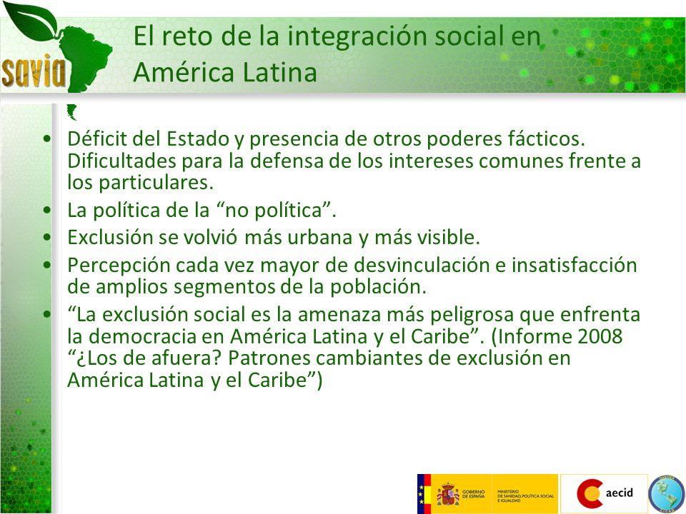 El reto de la integración social en América Latina Déficit del Estado y presencia de otros poderes fácticos. Dificultades para la defensa de los inter