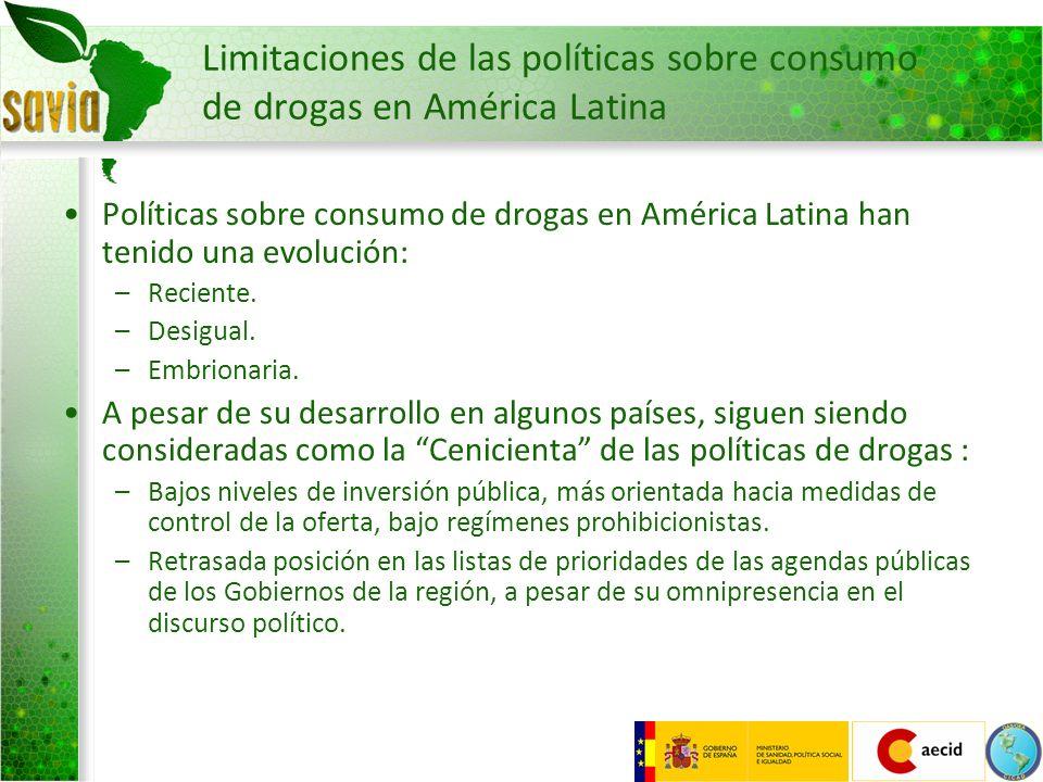 Limitaciones de las políticas sobre consumo de drogas en América Latina Limitada o inexistente participación de la comunidad.