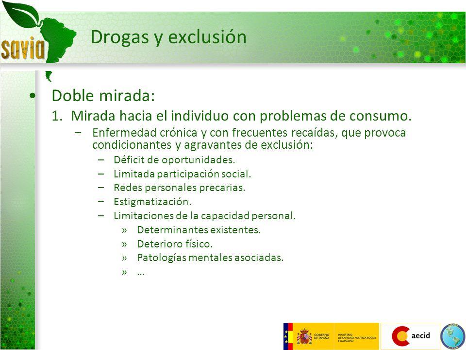 Drogas y exclusión Doble mirada: 1.Mirada hacia el individuo con problemas de consumo. –Enfermedad crónica y con frecuentes recaídas, que provoca cond