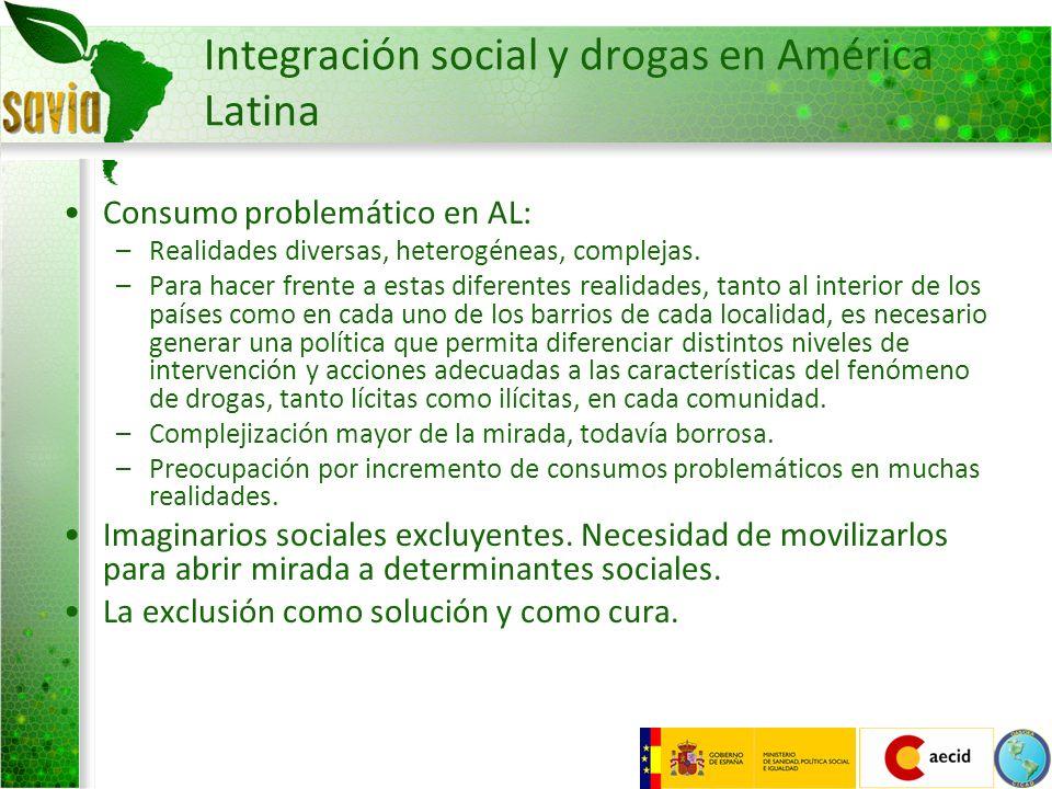 Integración social y drogas en América Latina Consumo problemático en AL: –Realidades diversas, heterogéneas, complejas. –Para hacer frente a estas di