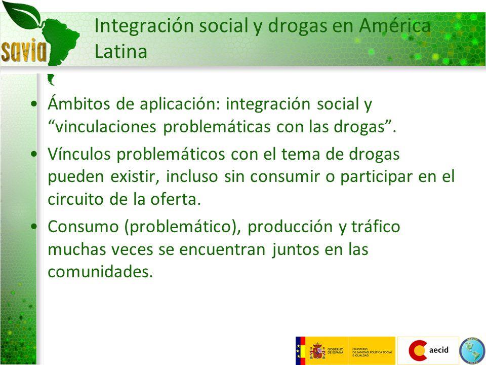 Integración social y drogas en América Latina Ámbitos de aplicación: integración social y vinculaciones problemáticas con las drogas. Vínculos problem