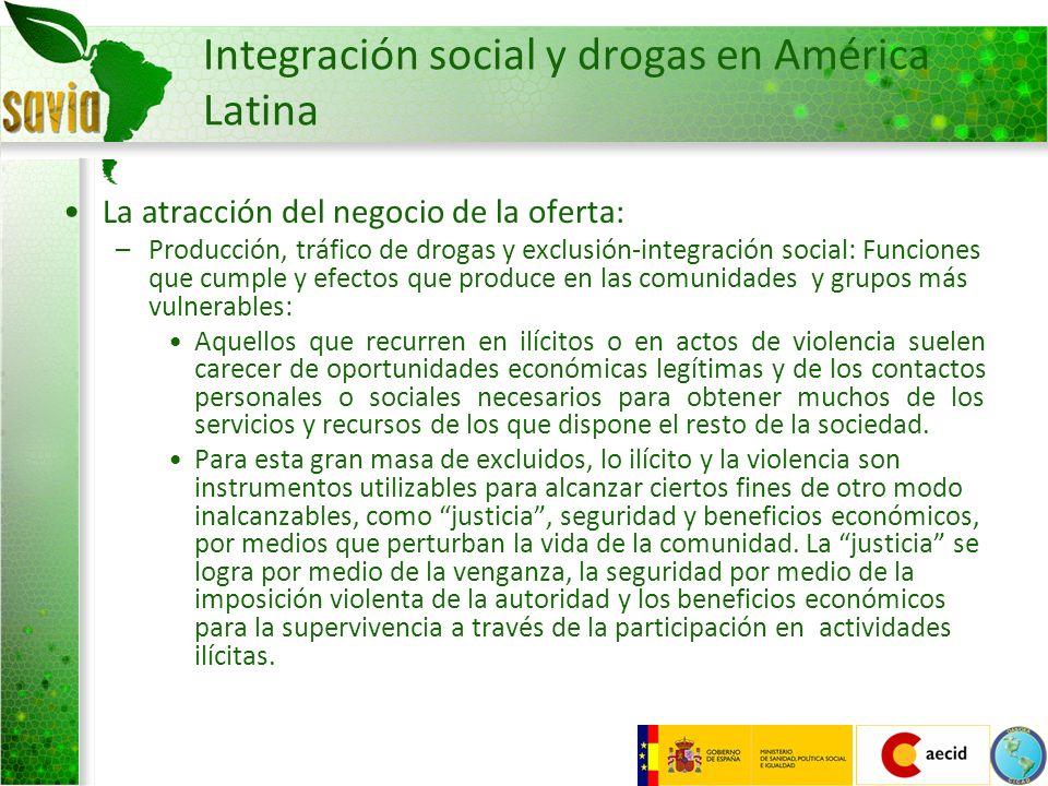 Integración social y drogas en América Latina La atracción del negocio de la oferta: –Producción, tráfico de drogas y exclusión-integración social: Fu