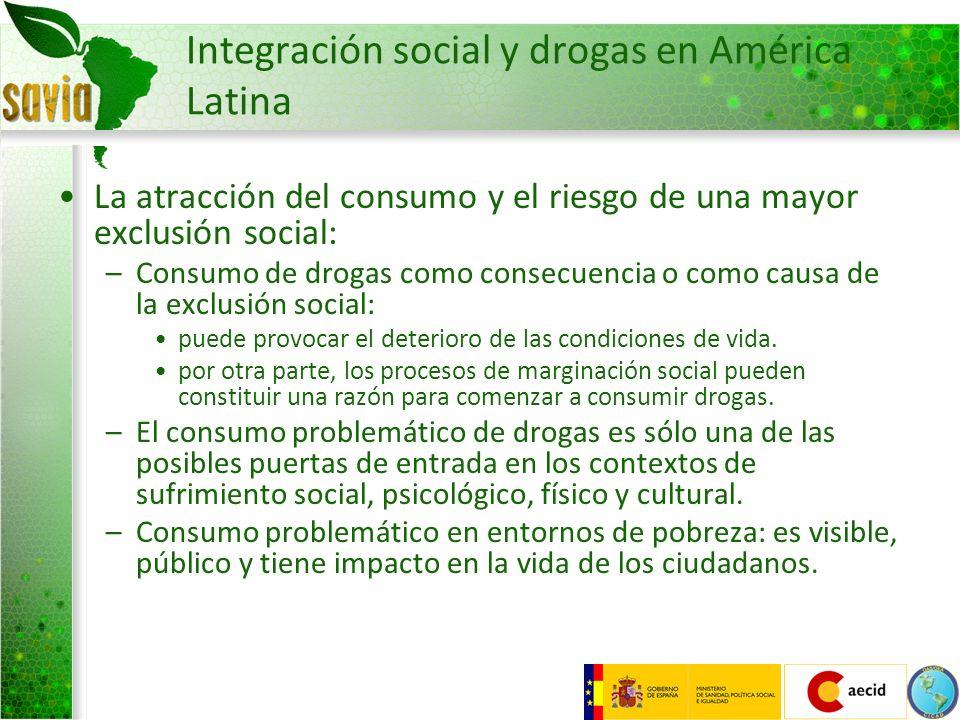 Integración social y drogas en América Latina La atracción del consumo y el riesgo de una mayor exclusión social: –Consumo de drogas como consecuencia