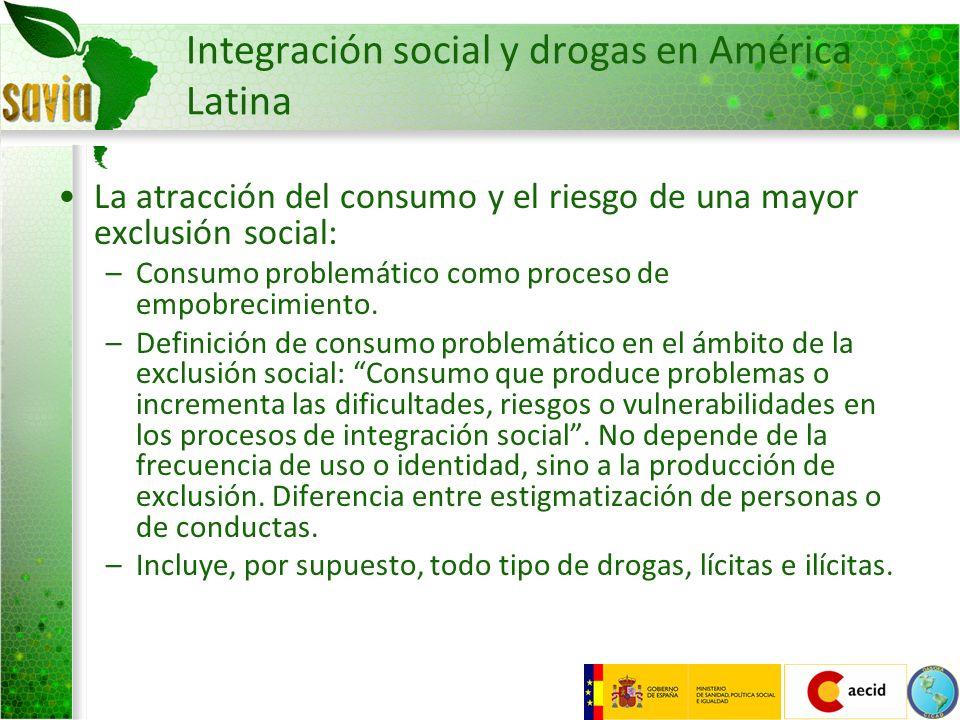 Integración social y drogas en América Latina La atracción del consumo y el riesgo de una mayor exclusión social: –Consumo problemático como proceso d