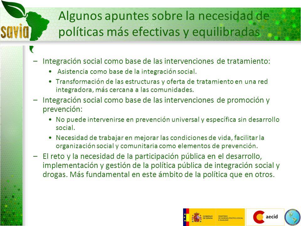 Algunos apuntes sobre la necesidad de políticas más efectivas y equilibradas –Integración social como base de las intervenciones de tratamiento: Asist