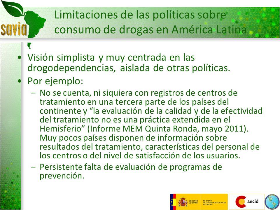 Limitaciones de las políticas sobre consumo de drogas en América Latina Visión simplista y muy centrada en las drogodependencias, aislada de otras pol