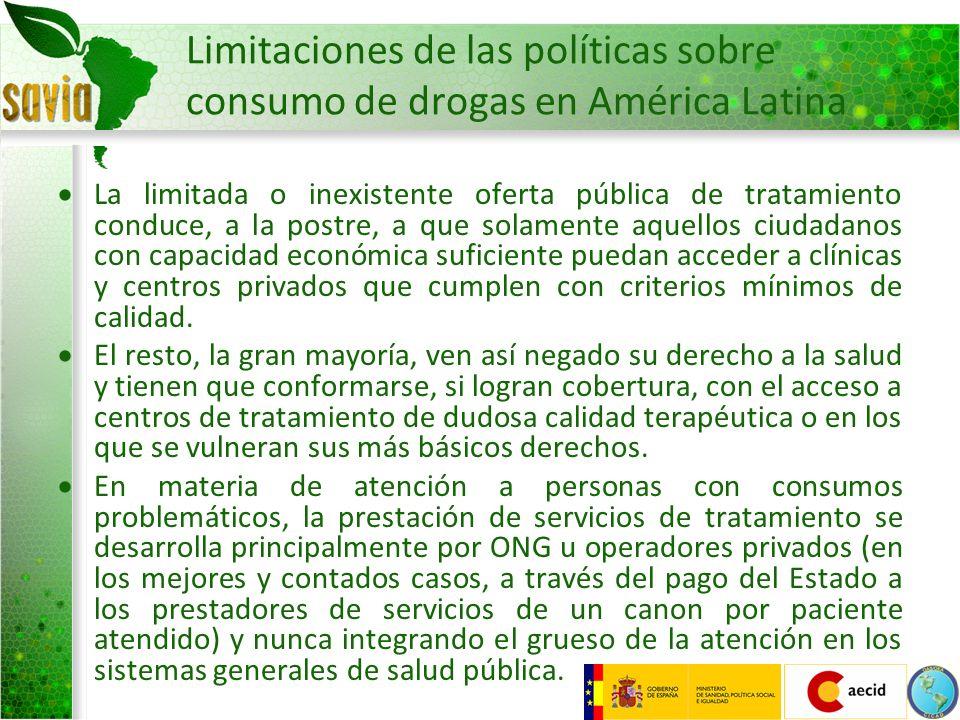Limitaciones de las políticas sobre consumo de drogas en América Latina Oferta muy centrada en modelos excluyentes y no integradores.