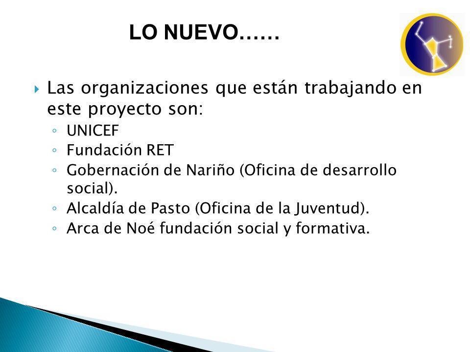 Las organizaciones que están trabajando en este proyecto son: UNICEF Fundación RET Gobernación de Nariño (Oficina de desarrollo social).