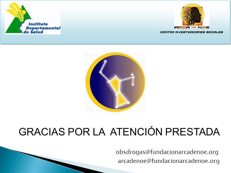 GRACIAS POR LA ATENCIÓN PRESTADA obsdrogas@fundacionarcadenoe.org arcadenoe@fundacionarcadenoe.org