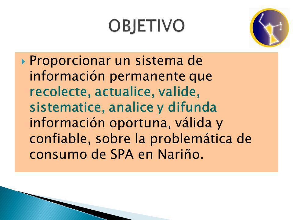 Proporcionar un sistema de información permanente que recolecte, actualice, valide, sistematice, analice y difunda información oportuna, válida y confiable, sobre la problemática de consumo de SPA en Nariño.