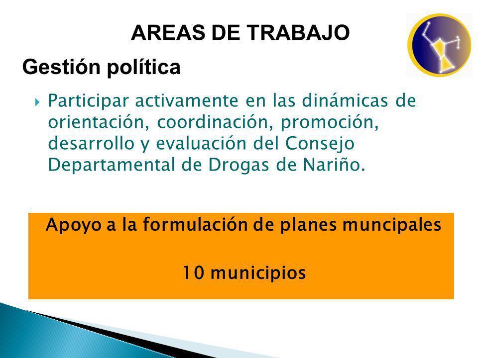 Participar activamente en las dinámicas de orientación, coordinación, promoción, desarrollo y evaluación del Consejo Departamental de Drogas de Nariño