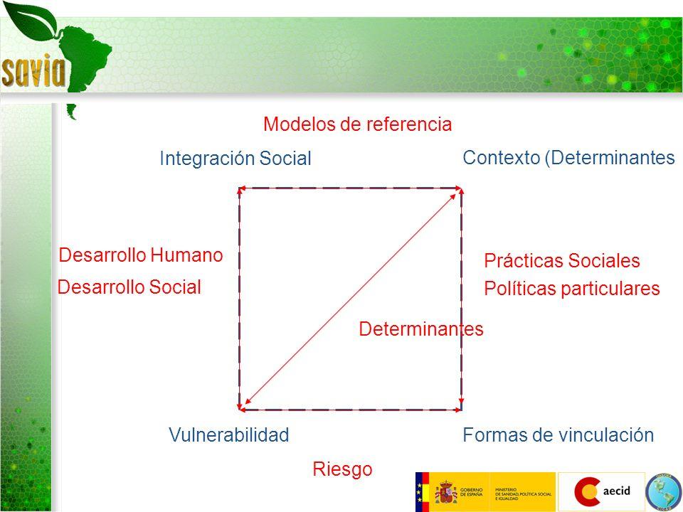 Integración Social Contexto (Determinantes Formas de vinculaciónVulnerabilidad Riesgo Desarrollo Humano Desarrollo Social Prácticas Sociales Políticas