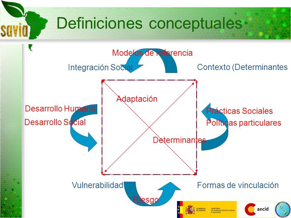 Definiciones conceptuales Integración Social Contexto (Determinantes Formas de vinculaciónVulnerabilidad Riesgo Desarrollo Humano Desarrollo Social Pr