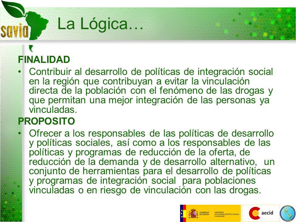 La Lógica… FINALIDAD Contribuir al desarrollo de políticas de integración social en la región que contribuyan a evitar la vinculación directa de la po
