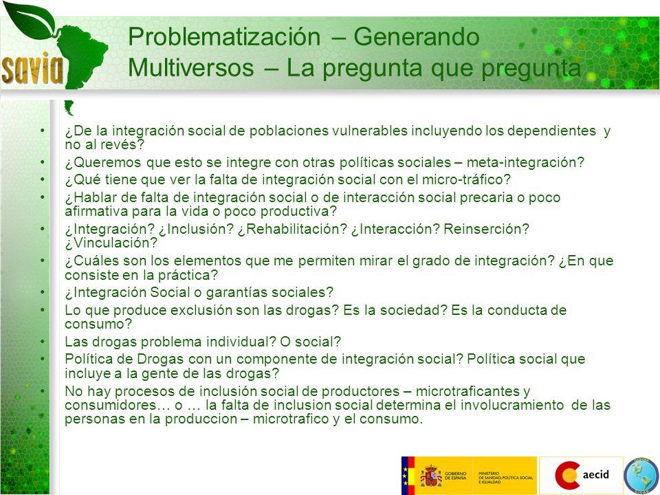 Problematización – Generando Multiversos – La pregunta que pregunta ¿De la integración social de poblaciones vulnerables incluyendo los dependientes y