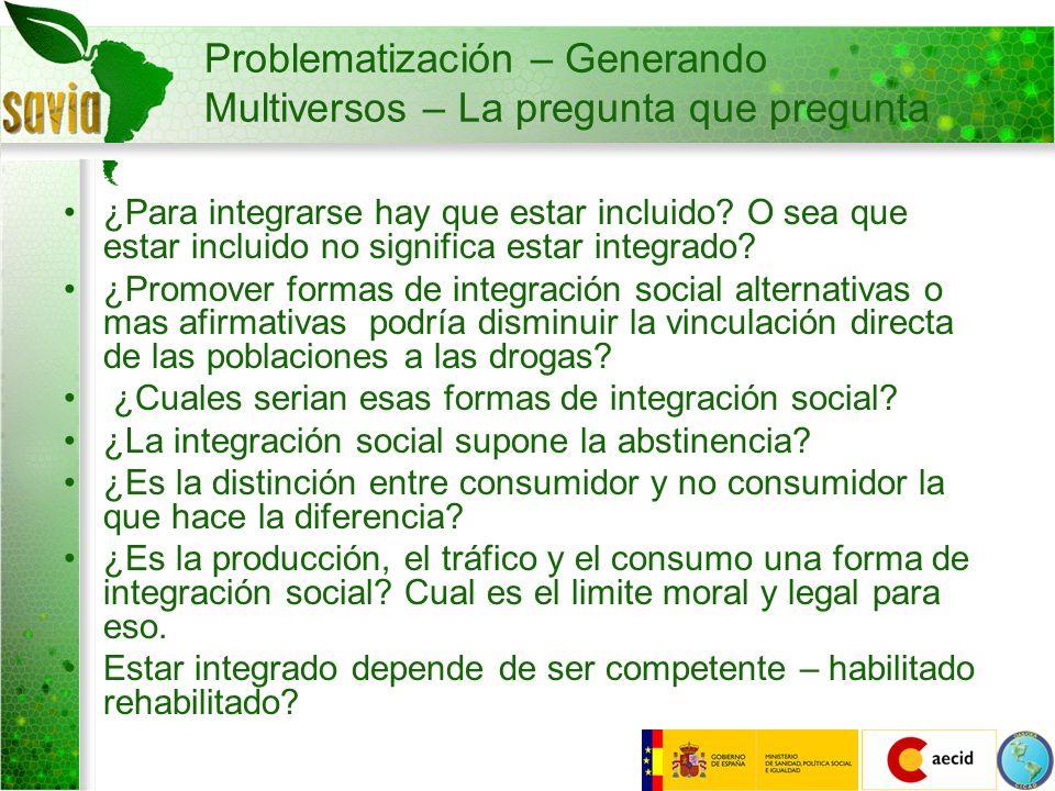 Problematización – Generando Multiversos – La pregunta que pregunta ¿Para integrarse hay que estar incluido? O sea que estar incluido no significa est