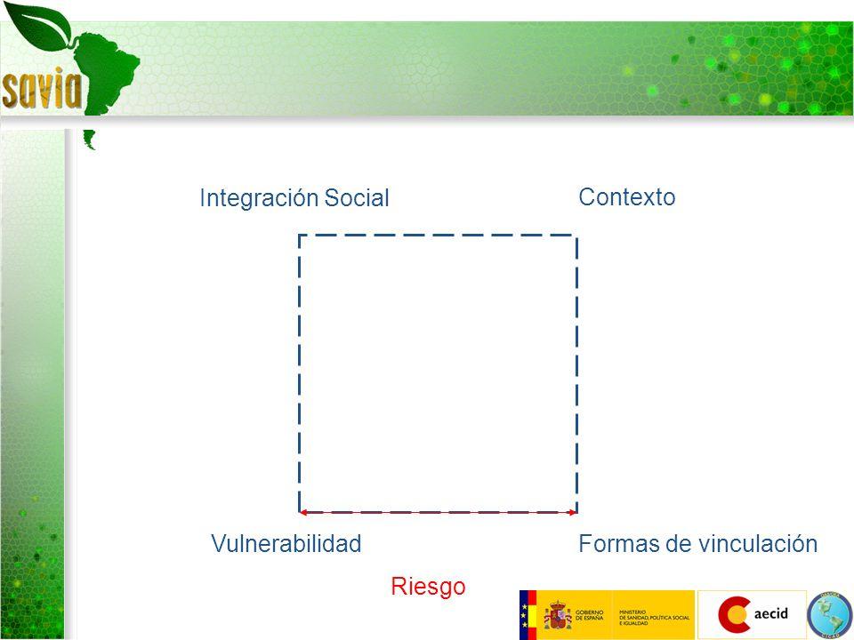 Integración Social Contexto Formas de vinculaciónVulnerabilidad Riesgo Desarrollo Humano Desarrollo Social